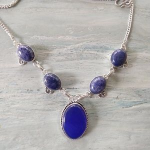 sale!!! Blue lapis Chalcedony stamped 925 necklace